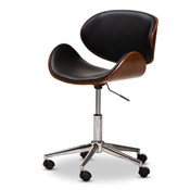 Baxton Studio Ambrosio Modern and Contemporary Black Faux Leather Upholstered Chrome-Finished Metal Adjustable Swivel Office Chair