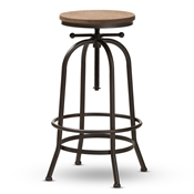 Baxton Studio Aline Vintage Rustic Industrial Style Wood and Rust-Finished Steel Adjustable Swivel Bar Stool