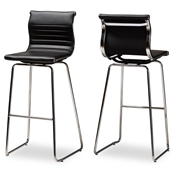 Baxton Studio Giorgio Modern and Contemporary Black Faux Leather Upholstered Chrome-Finished Steel Counter Stool Set of 2