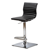 Baxton Studio Vanni Modern and Contemporary Black Faux Leather Upholstered Chrome-Finished Metal Adjustable Swivel Bar Stool