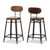 Baxton Studio Varek Vintage Rustic Industrial Style Bamboo and Rust-Finished Steel Stackable Counter Stool Set of 2