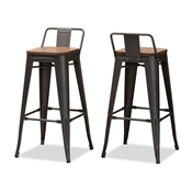 Baxton Studio Henri Vintage Rustic Industrial Style Tolix-Inspired Bamboo and Gun Metal-Finished Steel Stackable Bar Stool with Backrest Set of 2