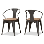 Baxton Studio Henri Vintage Rustic Industrial Style Tolix-Inspired Bamboo and Steel Stackable Side Chair Set of 2