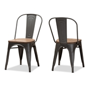 Baxton Studio Henri Vintage Rustic Industrial Style Tolix-Inspired Bamboo and Gun Metal-Finished Steel Stackable Dining Chair Set of 2