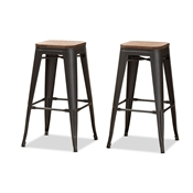 Baxton Studio Henri Vintage Rustic Industrial Style Tolix-Inspired Bamboo and Gun Metal-Finished Steel Stackable Bar Stool Set of 2
