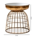 Baxton Studio Andreia Modern and Contemporary Antique Gold Finished Metal and Mirrored Glass Cage Accent Table - IEHE17T064L-ET