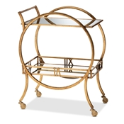 Baxton Studio Arsene Modern and Contemporary Antique Gold Finished 2-Tier Mobile Bar Cart Baxton Studio restaurant furniture, hotel furniture, commercial furniture, wholesale dining room furniture, wholesale kitchen carts, classic kitchen carts
