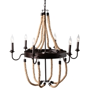 Baxton Studio Cassia Vintage Industrial Antique Style Hemp and Dark Bronze Metal 6 Light Chandelier