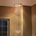 Baxton Studio Cellini Modern and Contemporary Chrome Metal and Crystal Long Spiral Pendant Light Chandelier - IEEVEN4342