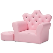 Baxton Studio Ava Modern and Contemporary Pink Faux Leather 2-Piece Kids Armchair and Footrest Set Baxton Studio restaurant furniture, hotel furniture, commercial furniture, wholesale kids furniture, wholesale kids chairs, classic kids chairs