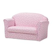 Baxton Studio Erica Modern and Contemporary Pink and White Heart Patterned Fabric Upholstered Kids 2-Seater Sofa Baxton Studio restaurant furniture, hotel furniture, commercial furniture, wholesale kids furniture, wholesale kids chairs, classic kids chairs