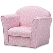 Baxton Studio Erica Modern and Contemporary Pink and White Heart Patterned Fabric Upholstered Kids Armchair Baxton Studio restaurant furniture, hotel furniture, commercial furniture, wholesale kids furniture, wholesale kids chairs, classic kids chairs