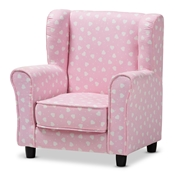 Baxton Studio Selina Modern and Contemporary Pink and White Heart Patterned Fabric Upholstered Kids Armchair Baxton Studio restaurant furniture, hotel furniture, commercial furniture, wholesale kids furniture, wholesale kids chairs, classic kids chairs
