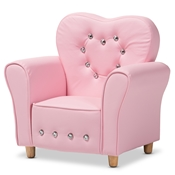 Baxton Studio Mabel Modern and Contemporary Pink Faux Leather Kids Armchair Baxton Studio restaurant furniture, hotel furniture, commercial furniture, wholesale kids furniture, wholesale kids chairs, classic kids chairs