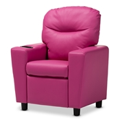 Baxton Studio Evonka Modern and Contemporary Magenta Pink Faux Leather Kids Recliner Chair Baxton Studio restaurant furniture, hotel furniture, commercial furniture, wholesale kids furniture, wholesale kids chairs, classic kids chairs