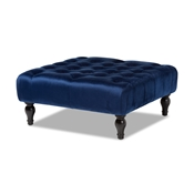 Baxton Studio Keswick Transitional Blue Velvet Fabric Upholstered Button Tufted Cocktail Ottoman Baxton Studio restaurant furniture, hotel furniture, commercial furniture, wholesale living room furniture, wholesale storage ottomans, classic storage ottomans