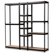 Baxton Studio Gavin Modern and Contemporary Black Metal 10-Shelf Closet Storage Racking Organizer