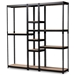 Baxton Studio Gavin Modern and Contemporary Black Metal 10-Shelf Closet Storage Racking Organizer - IEBH06/BH09/BH12-Black-Shelf