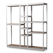 Baxton Studio Gavin Modern and Contemporary White Metal 10-Shelf Closet Storage Racking Organizer
