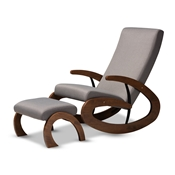 Baxton Studio Kaira Modern and Contemporary 2-Piece Gray Fabric Upholstered and Walnut-Finished Wood Rocking Chair and Ottoman Set Baxton Studio restaurant furniture, hotel furniture, commercial furniture, wholesale living room furniture, wholesale chair, classic rocking chairs