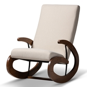 Baxton Studio Kaira Modern and Contemporary Light Beige Fabric Upholstered and Walnut-Finished Wood Rocking Chair
