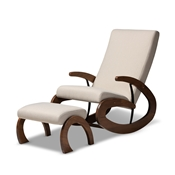 Baxton Studio Kaira Modern and Contemporary 2-Piece Light Beige Fabric Upholstered and Walnut-Finished Wood Rocking Chair and Ottoman Set Baxton Studio restaurant furniture, hotel furniture, commercial furniture, wholesale living room furniture, wholesale chair, classic rocking chairs