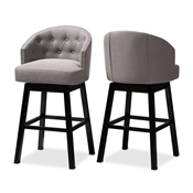 Baxton Studio Theron Transitional Gray Fabric Upholstered Wood Swivel Bar Stool Set of 2