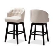 Baxton Studio Theron Transitional Light Beige Fabric Upholstered Wood Swivel Bar Stool Set of 2