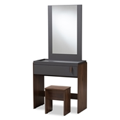 Baxton Studio Rikke Modern and Contemporary Two-Tone Gray and Walnut Finished Wood Bedroom Vanity with Stool Baxton Studio restaurant furniture, hotel furniture, commercial furniture, wholesale bedroom furniture, wholesale vanity, classic vanities