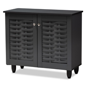 Baxton Studio Winda Modern and Contemporary Dark Gray 2-Door Wooden Entryway Shoe Storage Cabinet Baxton Studio restaurant furniture, hotel furniture, commercial furniture, wholesale entryway furniture, wholesale cabinet, classic shoe cabinets