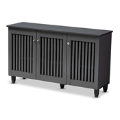 Baxton Studio Fernanda Modern and Contemporary Dark Gray 3-Door Wooden Entryway Shoe Storage Wide Cabinet Baxton Studio restaurant furniture, hotel furniture, commercial furniture, wholesale entryway furniture, wholesale cabinet, classic shoe cabinets