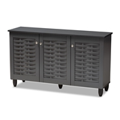 Baxton Studio Winda Modern and Contemporary Dark Gray 3-Door Wooden Entryway Shoe Storage Cabinet Baxton Studio restaurant furniture, hotel furniture, commercial furniture, wholesale entryway furniture, wholesale cabinet, classic shoe cabinets