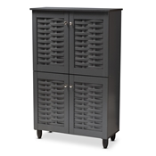 Baxton Studio Winda Modern and Contemporary Dark Gray 4-Door Wooden Entryway Shoe Storage Cabinet Baxton Studio restaurant furniture, hotel furniture, commercial furniture, wholesale entryway furniture, wholesale cabinet, classic shoe cabinets
