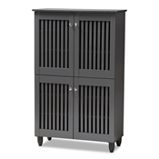 Baxton Studio Fernanda Modern and Contemporary Dark Gray 4-Door Wooden Entryway Shoe Storage Cabinet Baxton Studio restaurant furniture, hotel furniture, commercial furniture, wholesale entryway furniture, wholesale cabinet, classic shoe cabinets