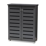 Baxton Studio Adalwin Modern and Contemporary Dark Gray 2-Door Wooden Entryway Shoe Storage Cabinet Baxton Studio restaurant furniture, hotel furniture, commercial furniture, wholesale entryway furniture, wholesale cabinet, classic shoe cabinets