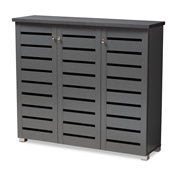Baxton Studio Adalwin Modern and Contemporary Dark Gray 3-Door Wooden Entryway Shoe Storage Cabinet Baxton Studio restaurant furniture, hotel furniture, commercial furniture, wholesale entryway furniture, wholesale cabinet, classic shoe cabinets