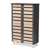 Baxton Studio Gisela Modern and Contemporary Two-Tone Oak and Dark Gray 4-Door Shoe Storage Cabinet Baxton Studio restaurant furniture, hotel furniture, commercial furniture, wholesale entryway furniture, wholesale cabinet, classic shoe cabinets