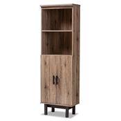 Baxton Studio Arend Modern and Contemporary Two-Tone Oak and Ebony Wood 2-Door Bookcase Baxton Studio restaurant furniture, hotel furniture, commercial furniture, wholesale living room furniture, wholesale bookcase, classic bookcases