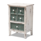 Baxton Studio Angeline Antique French Country Cottage Distressed White and Teal Finished Wood 5-Drawer Accent Chest Baxton Studio restaurant furniture, hotel furniture, commercial furniture, wholesale bedroom furniture, wholesale chest, classic chests