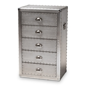 Baxton Studio Davet French Industrial Silver Metal 5-Drawer Accent Chest Baxton Studio restaurant furniture, hotel furniture, commercial furniture, wholesale bedroom furniture, wholesale chest, classic chests