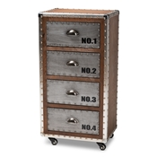 Baxton Studio Avere French Industrial Brown Wood and Silver Metal 4-Drawer Rolling Accent Chest Baxton Studio restaurant furniture, hotel furniture, commercial furniture, wholesale bedroom furniture, wholesale chest, classic chests