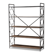Baxton Studio Mirna Industrial Black Iron Metal and Natural Oak Wood 5-Shelf Quatrefoil Accent Bookcase