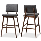 Baxton Studio Colton Mid-Century Modern Dark Gray Fabric Upholstered and Walnut-Finished Wood Bar Stool Set of 2