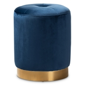 Baxton Studio Alonza Glam Navy Blue Velvet Fabric Upholstered Gold-Finished Ottoman Baxton Studio restaurant furniture, hotel furniture, commercial furniture, wholesale living room furniture, wholesale ottoman, classic ottomans