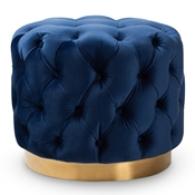 Baxton Studio Valeria Glam Royal Blue Velvet Fabric Upholstered Gold-Finished Button Tufted Ottoman Baxton Studio restaurant furniture, hotel furniture, commercial furniture, wholesale living room furniture, wholesale ottoman, classic ottomans