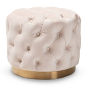 Baxton Studio Valeria Glam Light Beige Velvet Fabric Upholstered Gold-Finished Button Tufted Ottoman Baxton Studio restaurant furniture, hotel furniture, commercial furniture, wholesale living room furniture, wholesale ottoman, classic ottomans