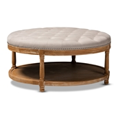 Baxton Studio Ambroise French Provincial Beige Linen Fabric Upholstered and White-Washed Oak Wood Button-Tufted Cocktail Ottoman with Shelf Baxton Studio restaurant furniture, hotel furniture, commercial furniture, wholesale living room furniture, wholesale ottoman, classic ottomans