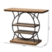 Baxton Studio Lavelle Vintage Rustic Industrial Style Walnut Brown Wood and Dark Bronze-Finished Metal Circular Console Table - IEYLX-9066