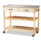 Baxton Studio Cresta Modern and Contemporary Pine Wood and Stainless Steel 2-Drawer Kitchen Island Utility Storage Cart Baxton Studio restaurant furniture, hotel furniture, commercial furniture, wholesale dining room furniture, wholesale wine cabinets classic wine cabinets