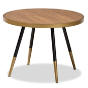 Baxton Studio Lauro Modern and Contemporary Round Walnut Wood and Metal Coffee Table with Two-Tone Black and Gold Legs Baxton Studio restaurant furniture, hotel furniture, commercial furniture, wholesale living room furniture, wholesale coffee tables, classic coffee tables